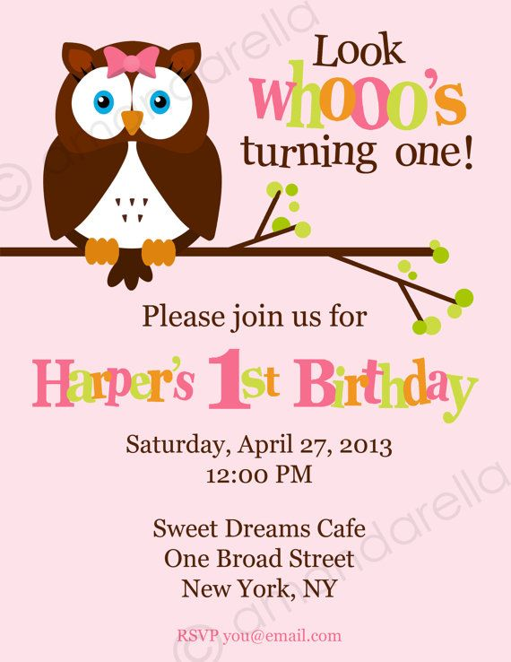 Owl Birthday Invitation DIY Printable By Amandarellas On Etsy