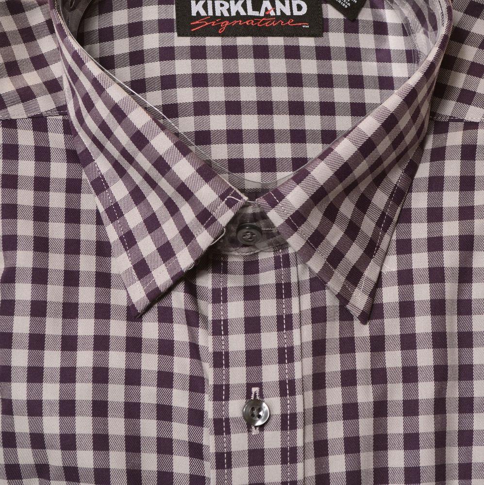 f22f986917a81 Kirkland Mens Sport Non-Iron Dress Shirt Button Long Sleeve Plaid Print  Point  KirklandSignature