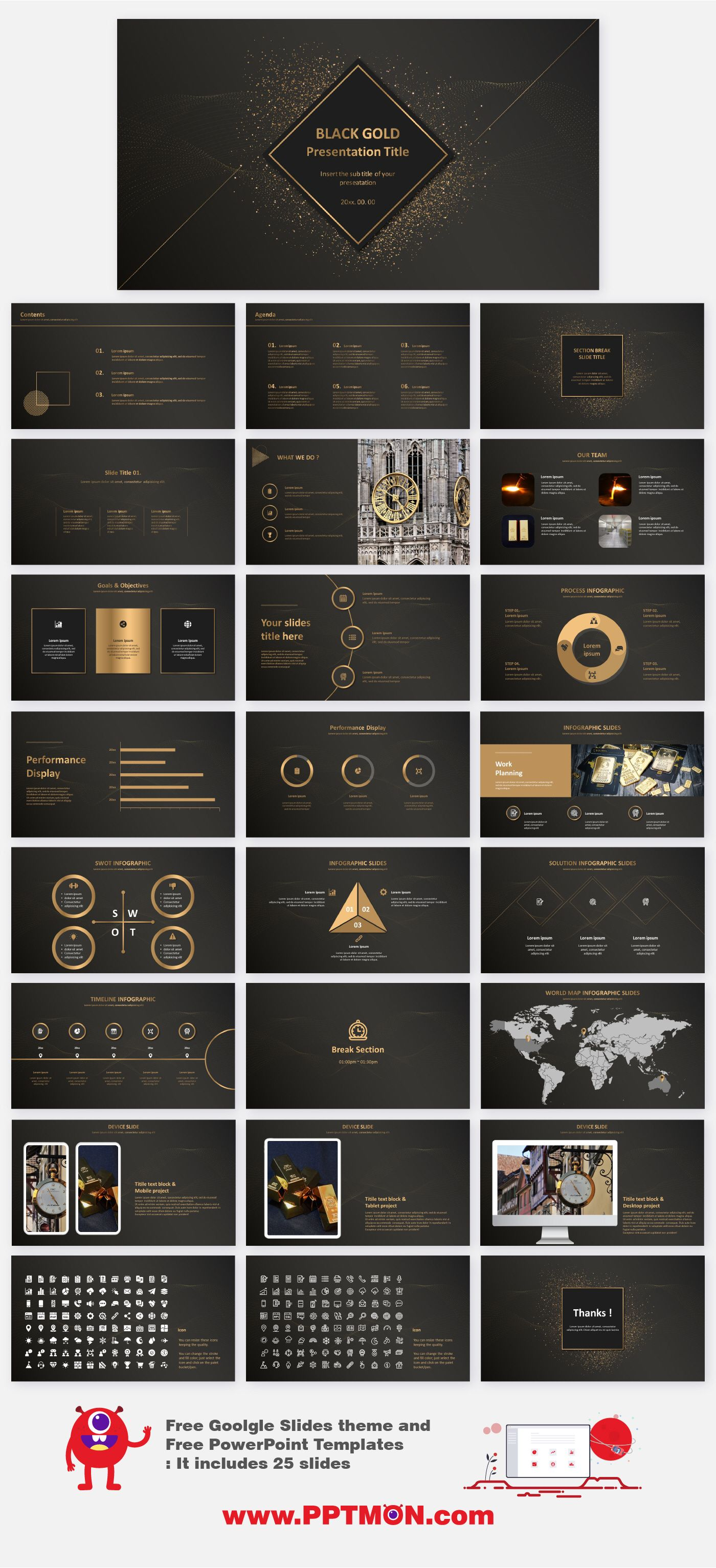 Black And Gold Free Powerpoint Google Presentation Powerpoint Presentation Design Powerpoint Presentation Themes Powerpoint Design Templates