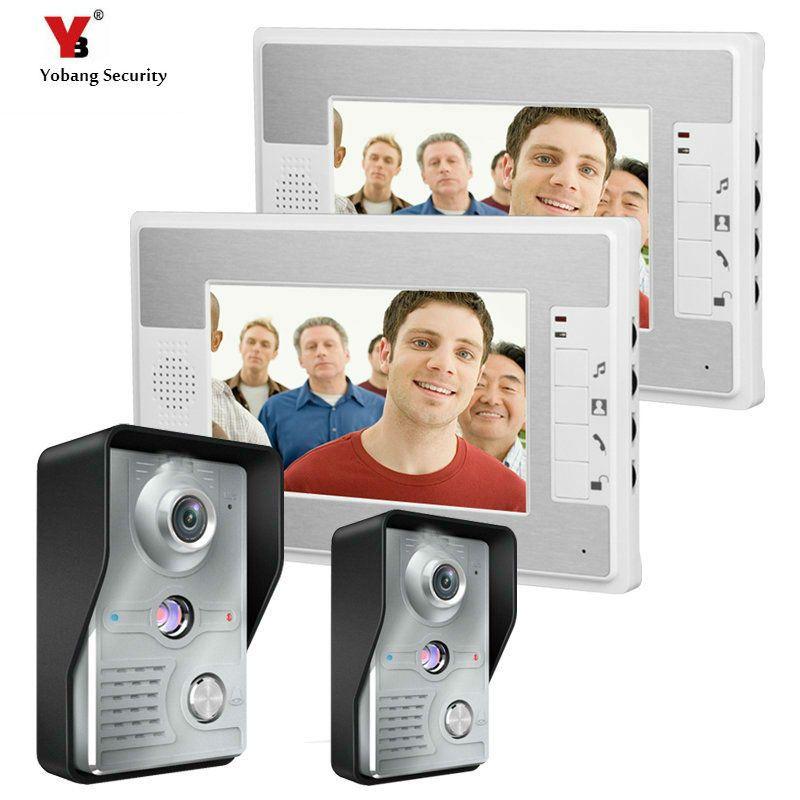 Yobang Security 7 Inch Video Door Phone Doorbell Video Intercom 2 Camera 2 Monitor Night Vision D Security Cameras For Home Video Door Phone Intercom