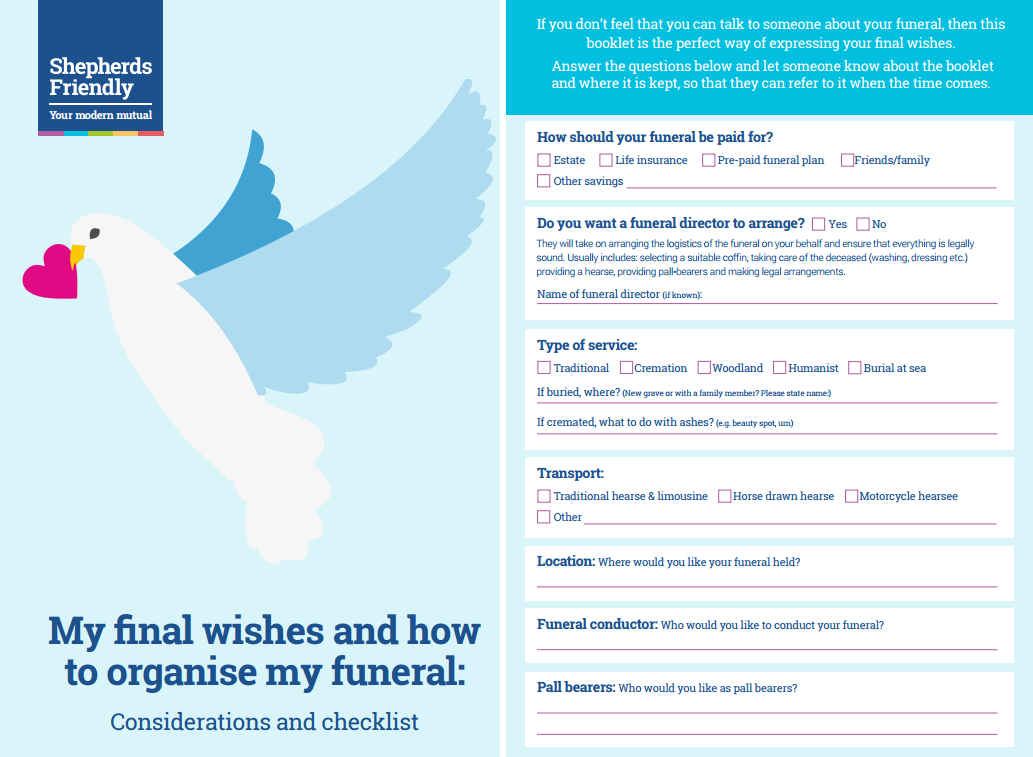 Let someone you know your funeral wishes with this handy