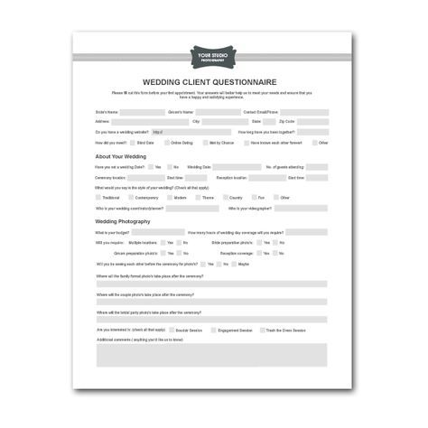 Printable Sample Wedding Photography Contract Template Form Lil