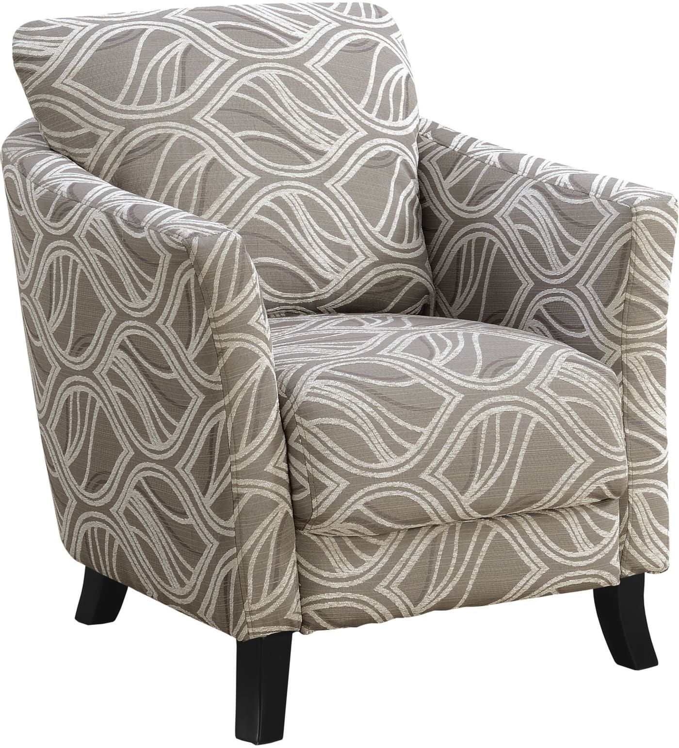 Monarch Specialties 1813 Fabric Metal Accent Chair: Monarch Specialties Taupe Leaf Design Fabric Accent Chair