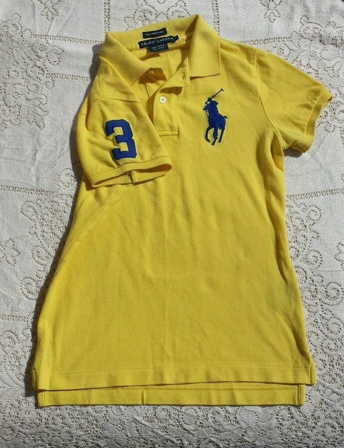Polo Ralph Lauren Skinny Polo Neon #3 Big Pony Yellow With Navy Logo S in