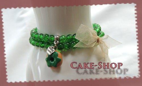 Bracelet double 6mm vert donuts