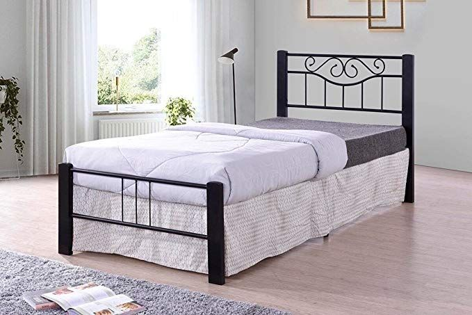 Black Scroll Metal Platform Bed Frame Twin Size Headboards And