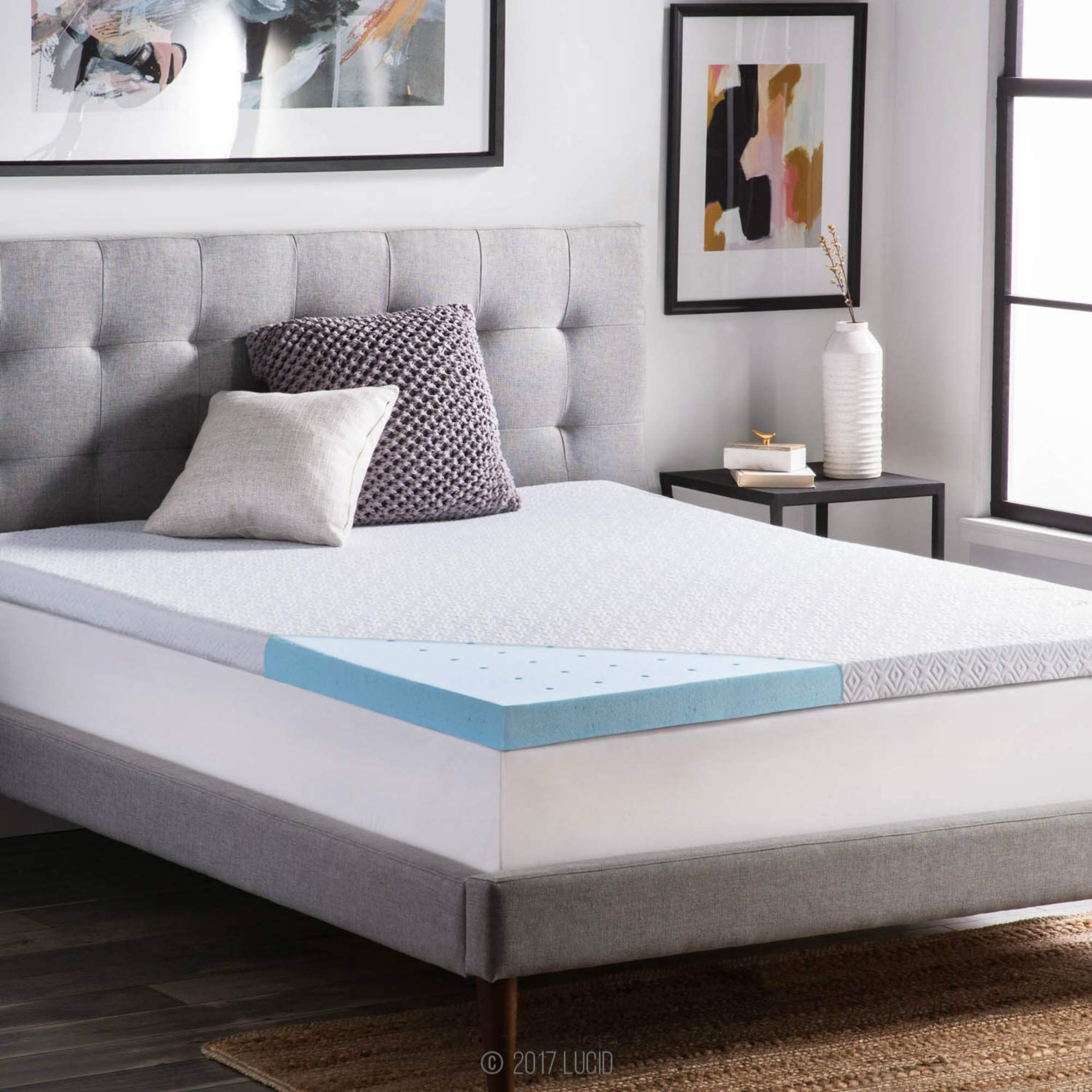 Lucid 2 5 Inch Gel Infused Ventilated Memory Foam Mattress Topper With Removable Tencel B With Images Memory Foam Mattress Topper Foam Mattress Topper Memory Foam Mattress