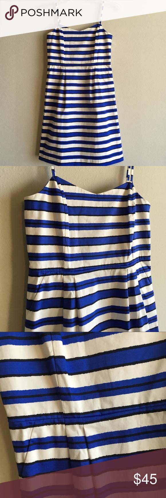 Nwt Gap Striped Tank Pockets Sleeveless Sun Dress A Bright