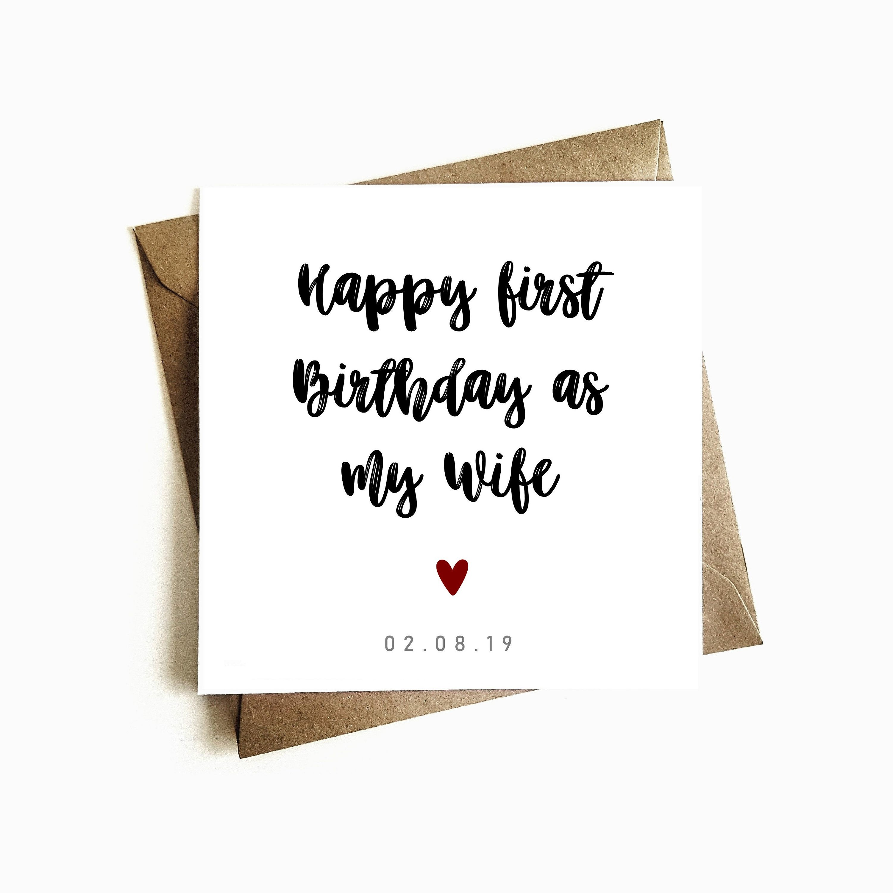 Personalised First Birthday As My Wife Birthday Card Happy Etsy Happy First Birthday Husband Birthday Card Happy Birthday Cards