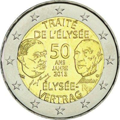 2 Euro Cuni 50 Jahre Elysée Vertrag Un Moedas Pinterest 50er