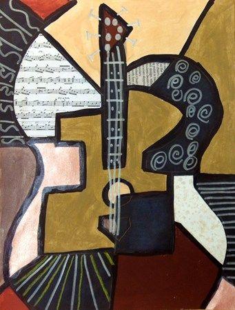 Grade 3 cubist guitar | Art classroom, Cubist art, 4th ...