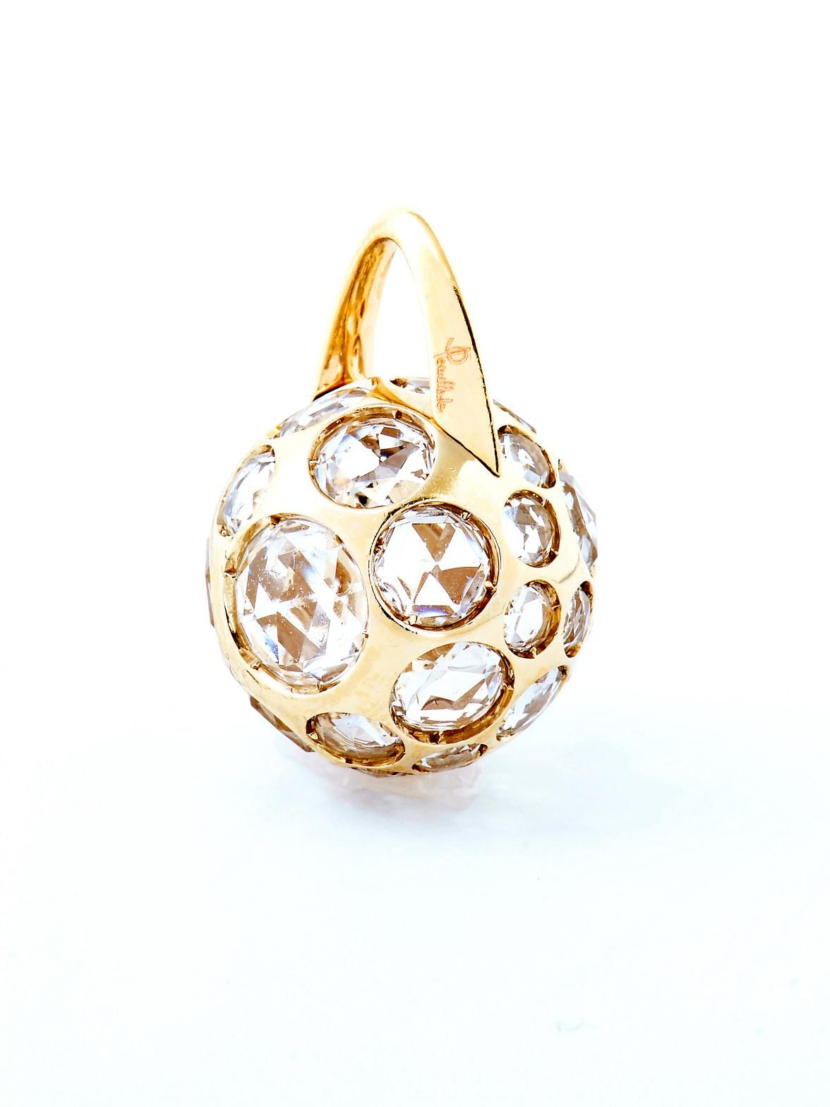 Pomellato 18k Yellow Gold Harem Ball Rock Crystal Pendant. 18k Yellow Gold Ball with Rock Crystals. Available at London Jewelers.