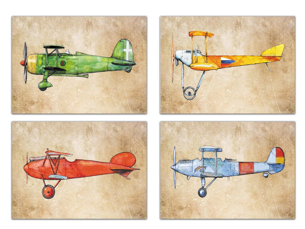Airplane Decor Old Paper Prints Vintage Military Airplanes Art Set 4 Retro Aircrafts On Boys Nursery Wall By Mirabilitas