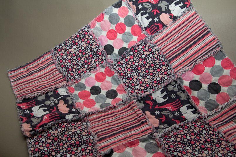 Reversible Kathy Miller Pink and Grey Rag Quilt - Crib Size.