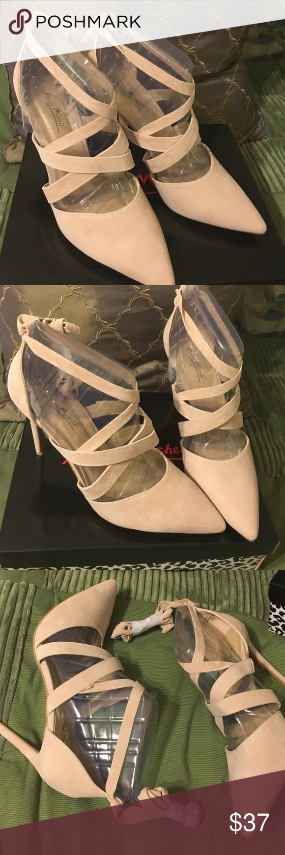 "BRAND NEW Anne Michelle beige suede like ankle tie Brand New never worn ankle tie up leg 4.5"" heels. Crisscross over instep for a stylish look. Sz 11 (41)  beige. Rampage Super cute!! Rampage Shoes Heels"