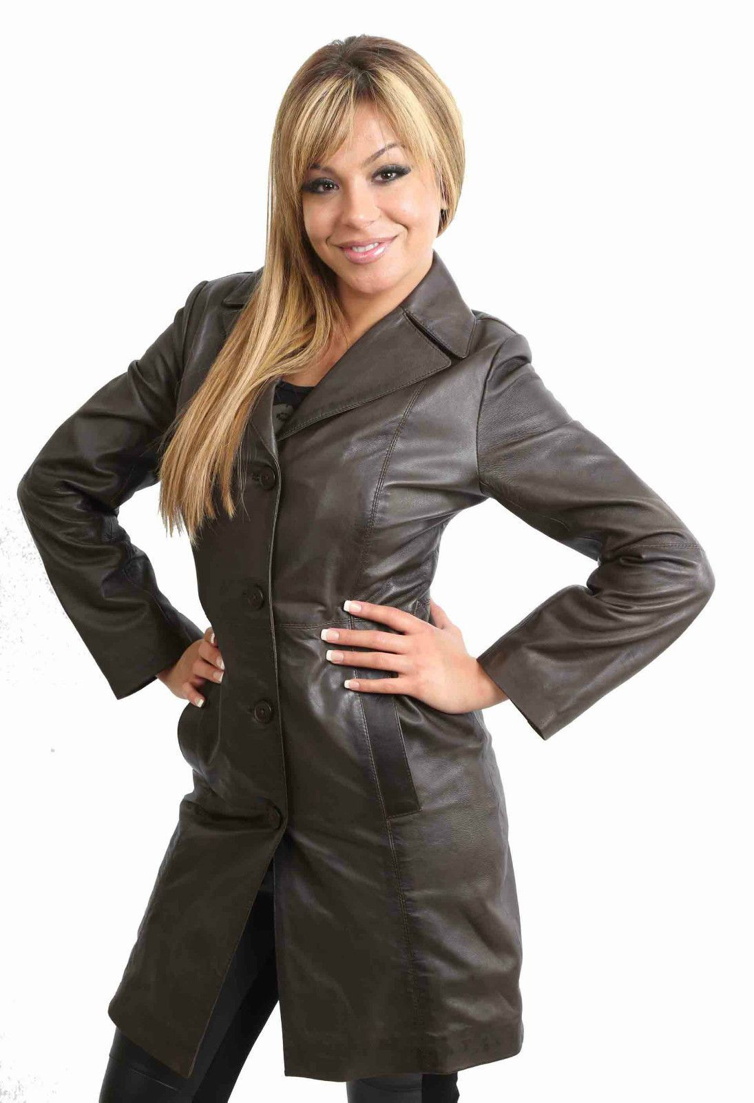 Womens Real leather Coat Ladies Fitted 3/4 Length Jacket MACEY Black Brown Red