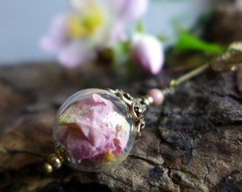 Dried Flower Necklace, Victorian Style Necklace, Wild Rose Necklace, Pink Rose Necklace, Vintage Style Necklace, Dragonfly Necklace, Pendant