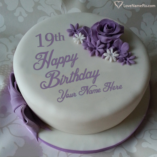Beautiful Violet Rose 19th Birthday Cake With Name Photo
