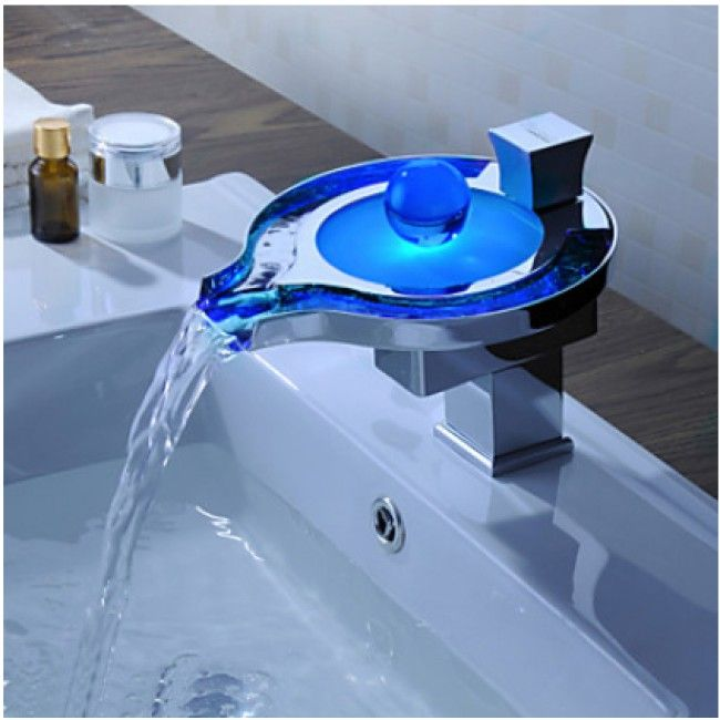 Pearl Torneira Chrome Led Basin Faucet Water Tap New Bathroom Sink Mixer Waterfall Vanity Vessel Sinks Mixers Taps Faucets