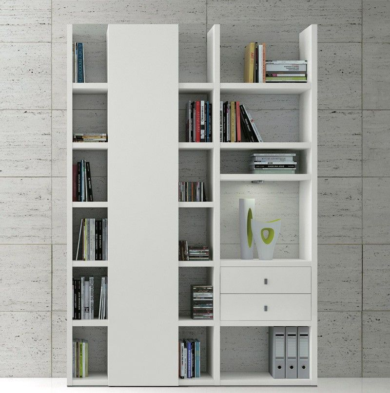 Wohnzimmermöbel Angebote: Wohnwand Bücherregal CD DVD Regal TOLEO238 Weiß Lackiert