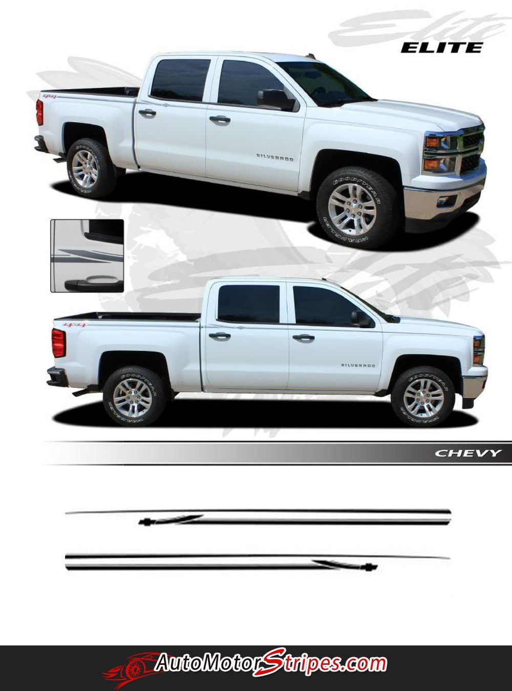 2013 2016 chevy silverado elite truck upper side body pin striping accent vinyl graphics 3m