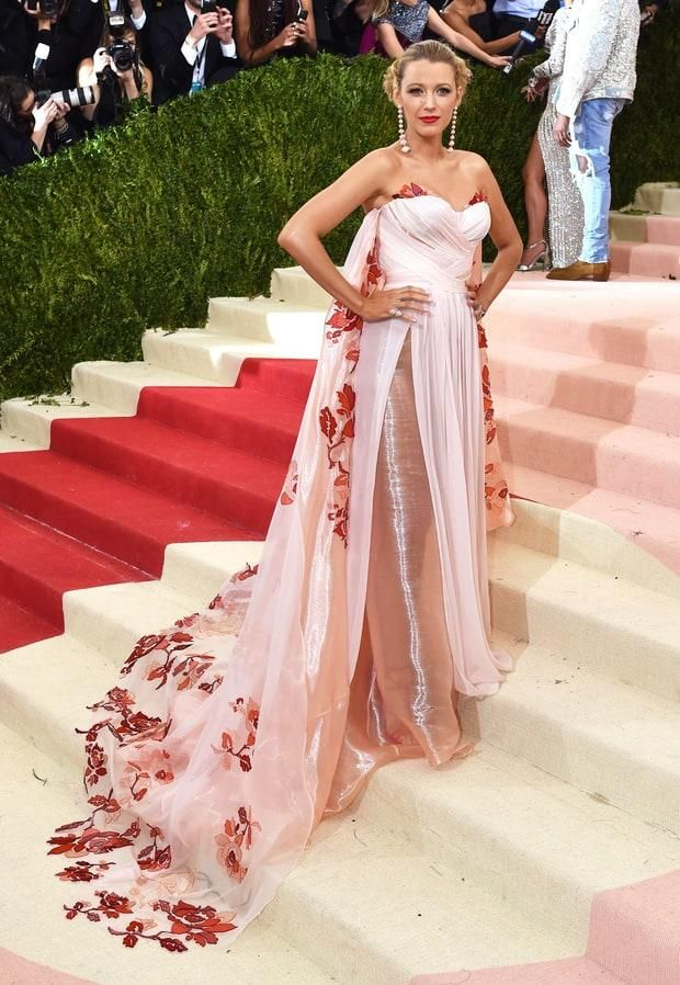 Vestido de festa blake lively Met Gala 2016 Roter Teppich A-line ...