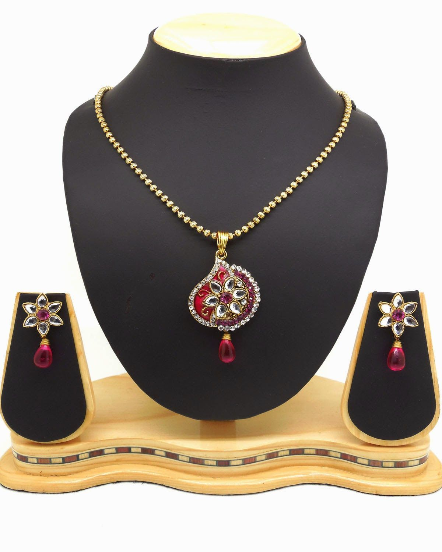 Womenus art red color fashion jewellery pendant set pinterest