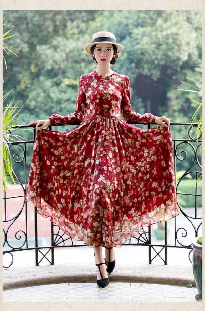 Cw autumn temperament printing dress retro wood ear long dress