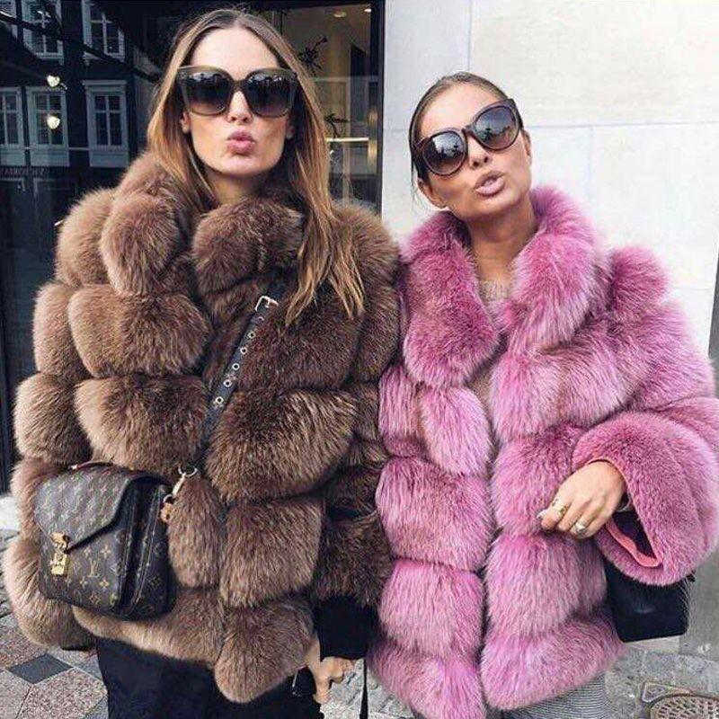 NEW Fashion Women Winter Thick Warm Real Fur Coat Real Fox Fur Jacket High Quality Full Pelt Fox Mandarin Fox Fur Collar Outfit