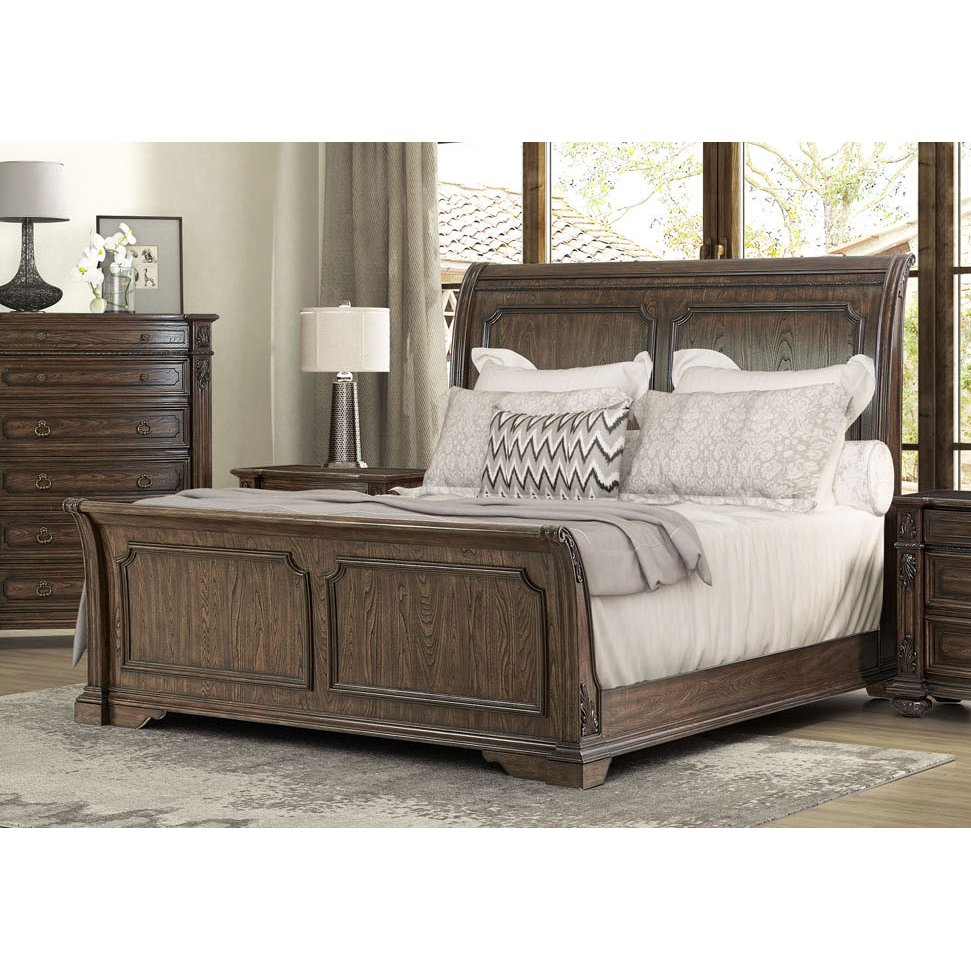 Traditional Brown Queen Sleigh Bed Tuscany Pointe Sleigh Beds Queen Bedroom Bed Furniture