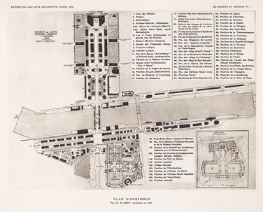 Map of the 1925 Art Deco exposition in Paris