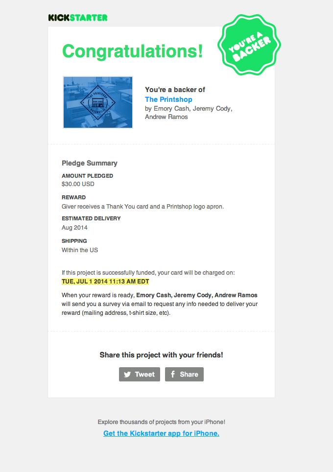 Thankyou Receipt Email Design From Kickstarter Commerceshopping