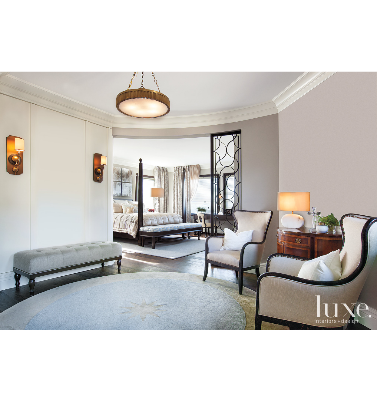 Hamptons Inspired Luxury Home Master Bedroom Robeson: Transitional Brown Foyer