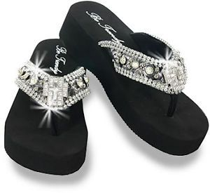 c3e31a9ef3d18a Women s Rhinestone Cross Wedge Flip Flops