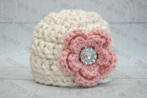 Photo of Newborn baby girl hat baby girl photo prop flower beanie ecru and pink chunky soft infant girl photography prop crochet knit baby hat