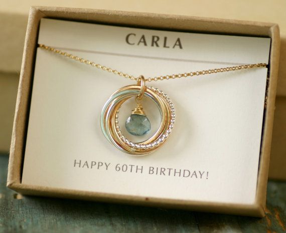 60th Birthday Gift For Women Aquamarine Necklace Mom Her March Birthstone Jewelry Grandmother