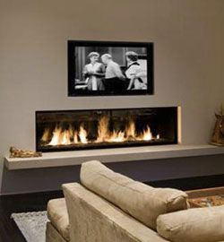 Modern Linear Gas Fireplaces bring light warmth and ambiance to