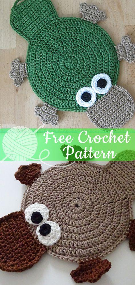 Platypus Potholder Crochet Free Patterns All About Crochet Crochet Pot Holders Free Pattern Crochet Patterns Easy Crochet Patterns Free