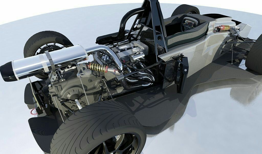 Sports Car With Details BAC MONO Amortisseur Autocad Bac Car Car Chassis,  Ready For Animation And Other Projects