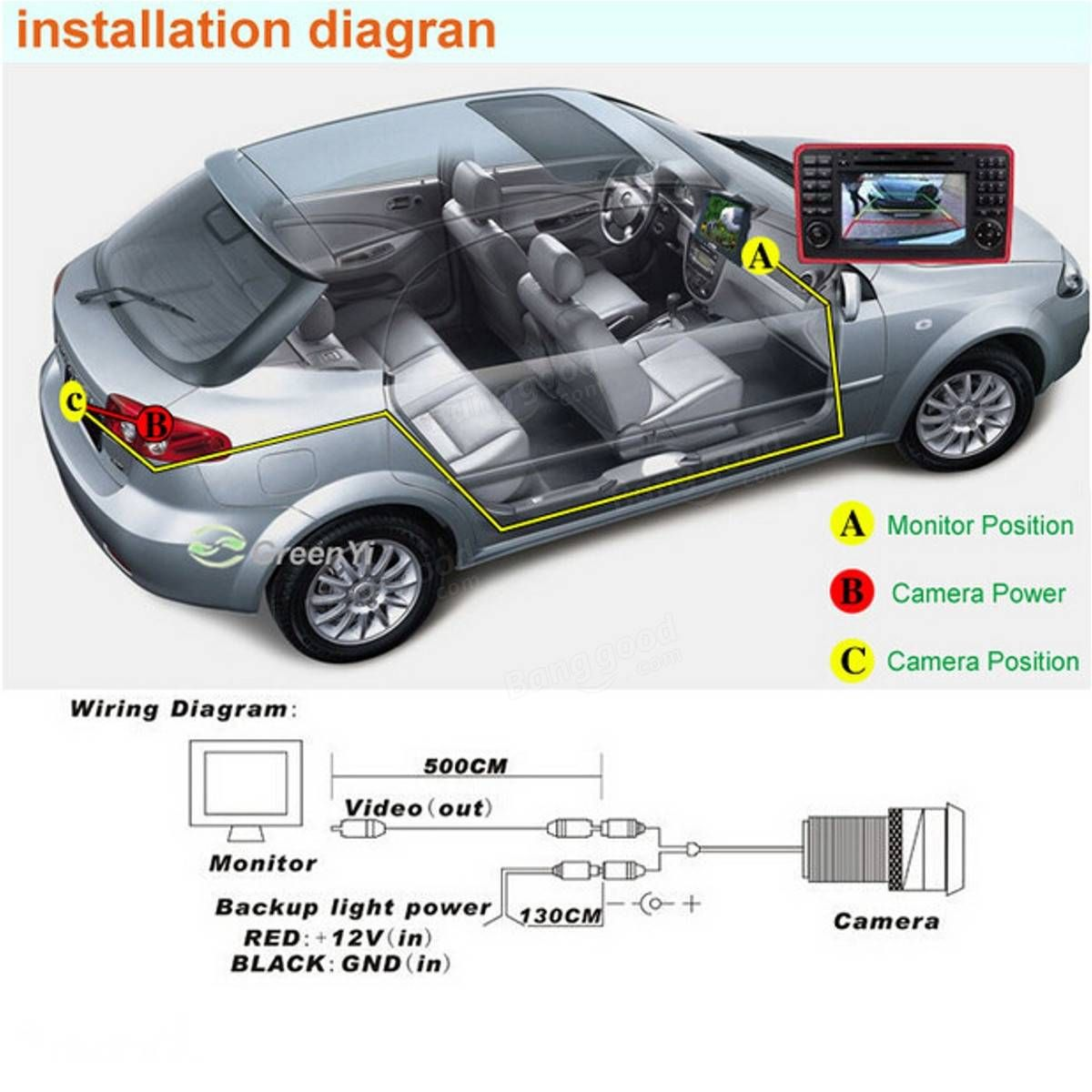 43 Inch Car Rear View Kit Tft Lcd Monitor Led Ir Reversing Camera Color Wiring Diagram For Truck Bus