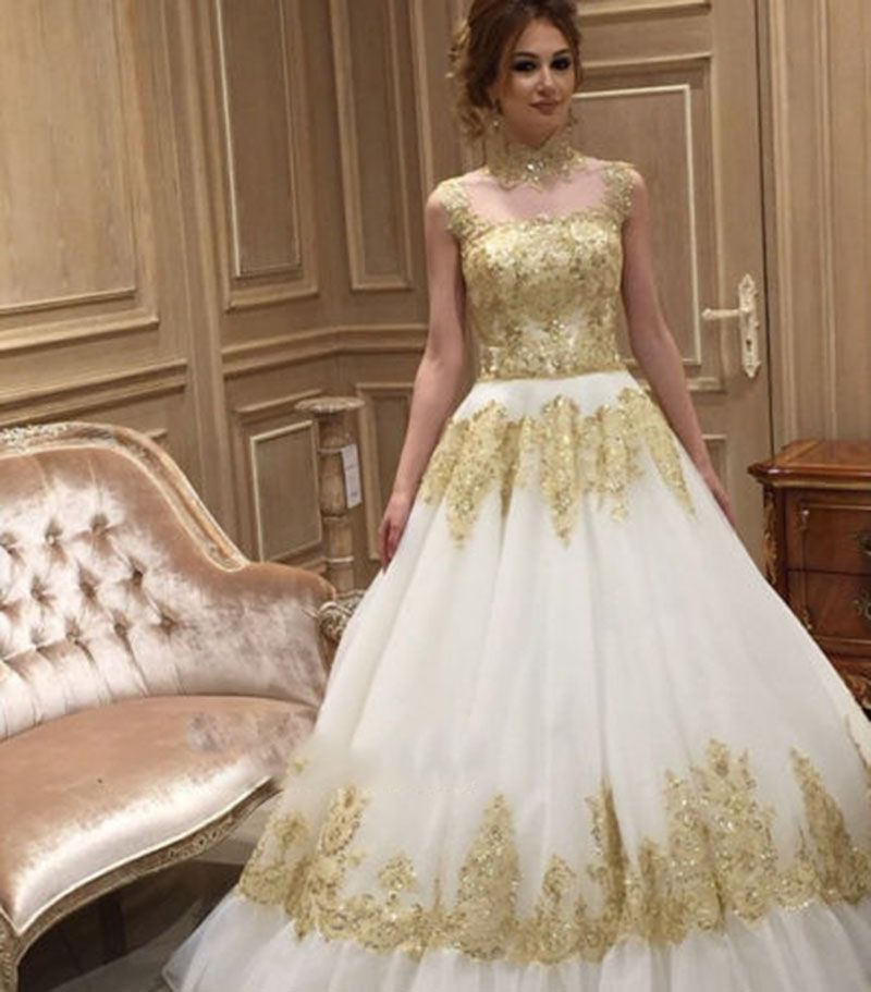 white ivory wedding dress gold high neck lace appliques bead bridal wedding ball gowns court train