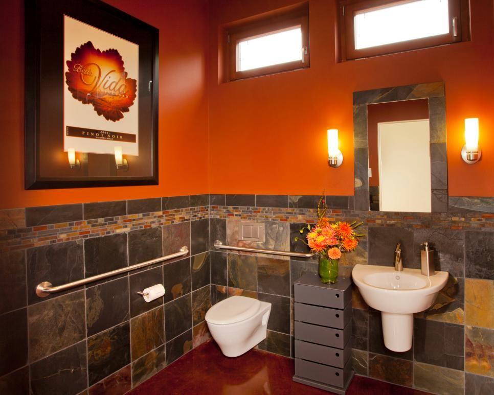 The Beautiful Dark Marble In This Modern Bathroom Is Complemented By A Brilliant Dark Orange Paint Colo With Images Orange Bathrooms Orange Bathroom Decor Bathroom Design