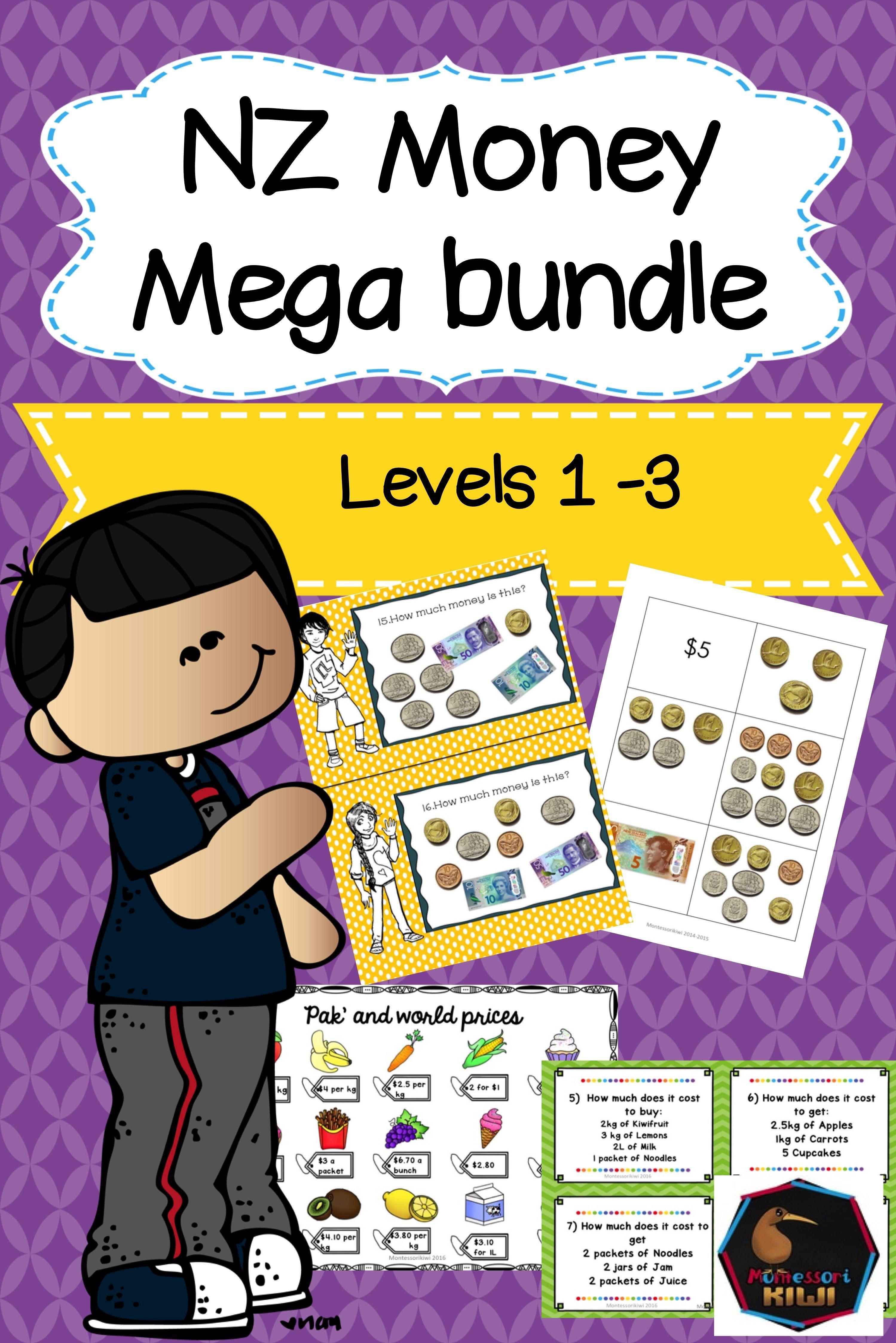 New Zealand Money Mega Bundle Levels 1 2 3 Money Math Activities Money Math Teaching Money
