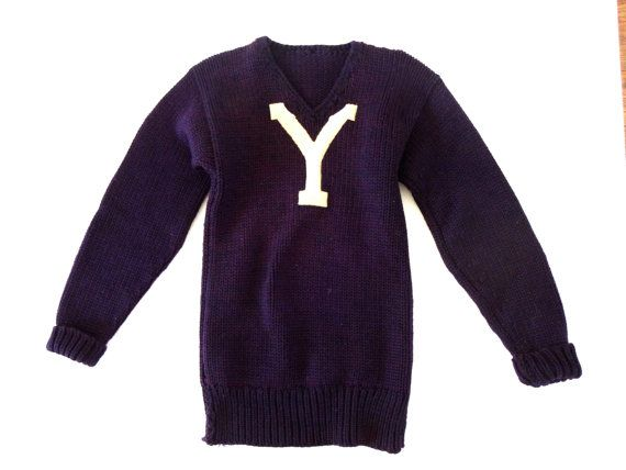 866a1a66f 1900 Vintage Yale College Sweater - Hand-Knit Wool and Felt Y - Navy Blue  and White - Arthur Johnson   Co Supply Company  1350