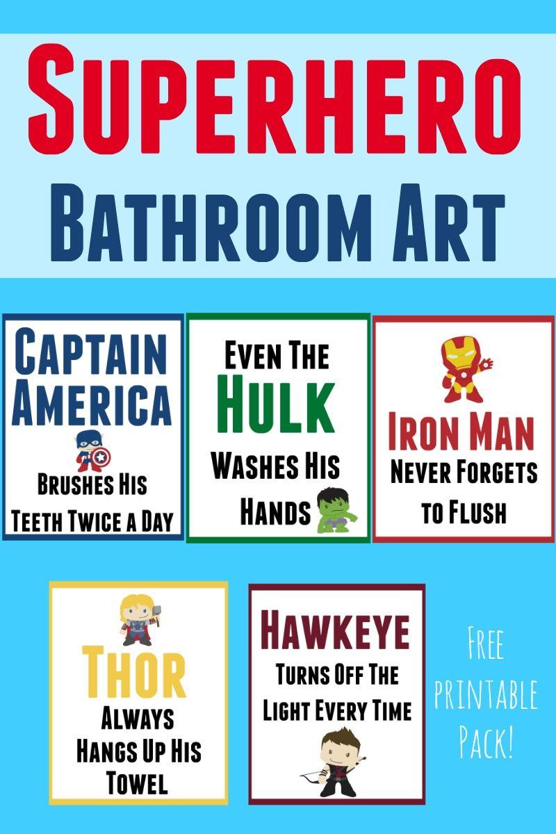 Nice Free Printable Superhero Bathroom Art Set To Help Your Little Super Hero  Keep Himself And The Bathroom Clean