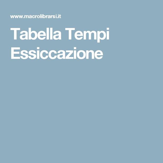 Tabella Tempi Essiccazione
