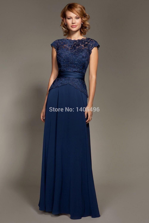 Navy blue full length bridesmaid dress lace peplum google search