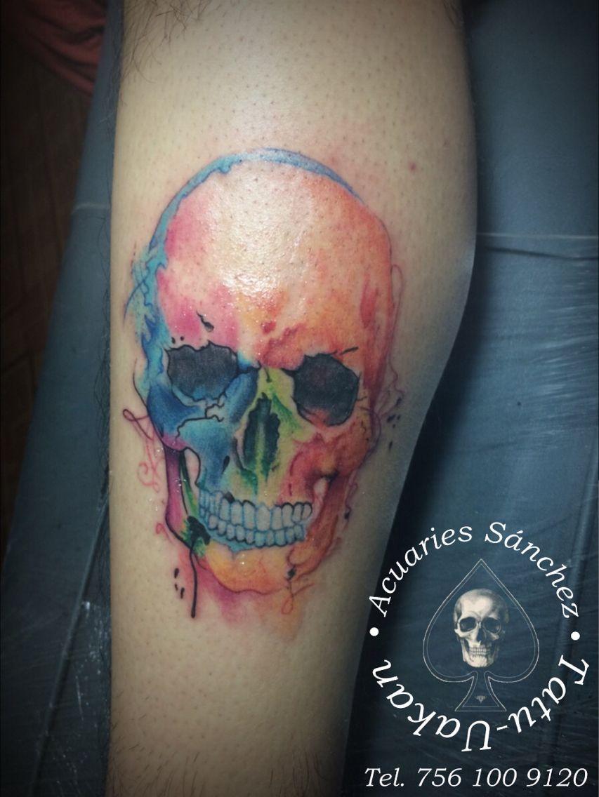 Skull Color Acuaries Sanchez Calavera Tattoo Tatuajes