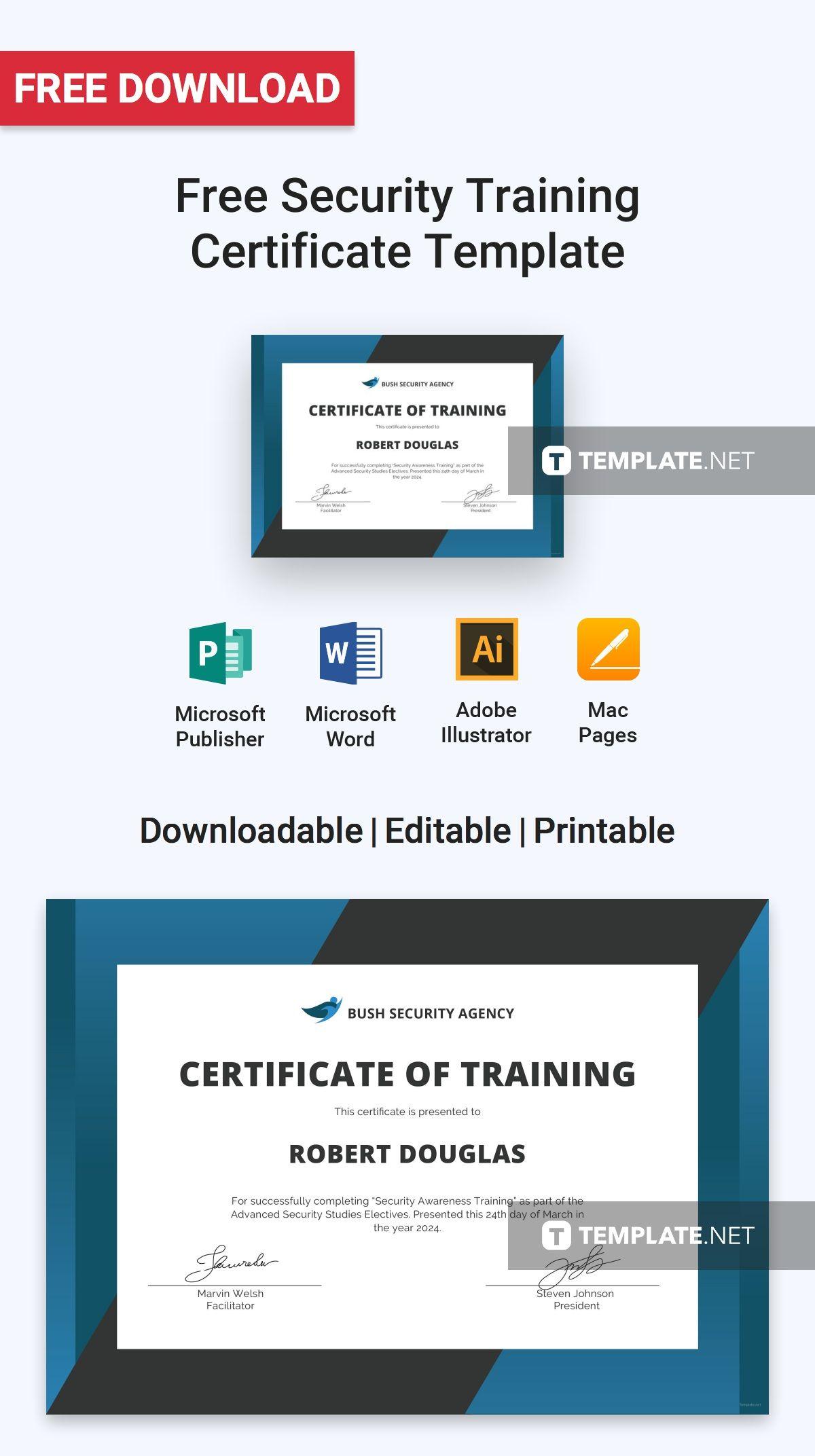 Free Security Training Certificate Certificate Templates Designs
