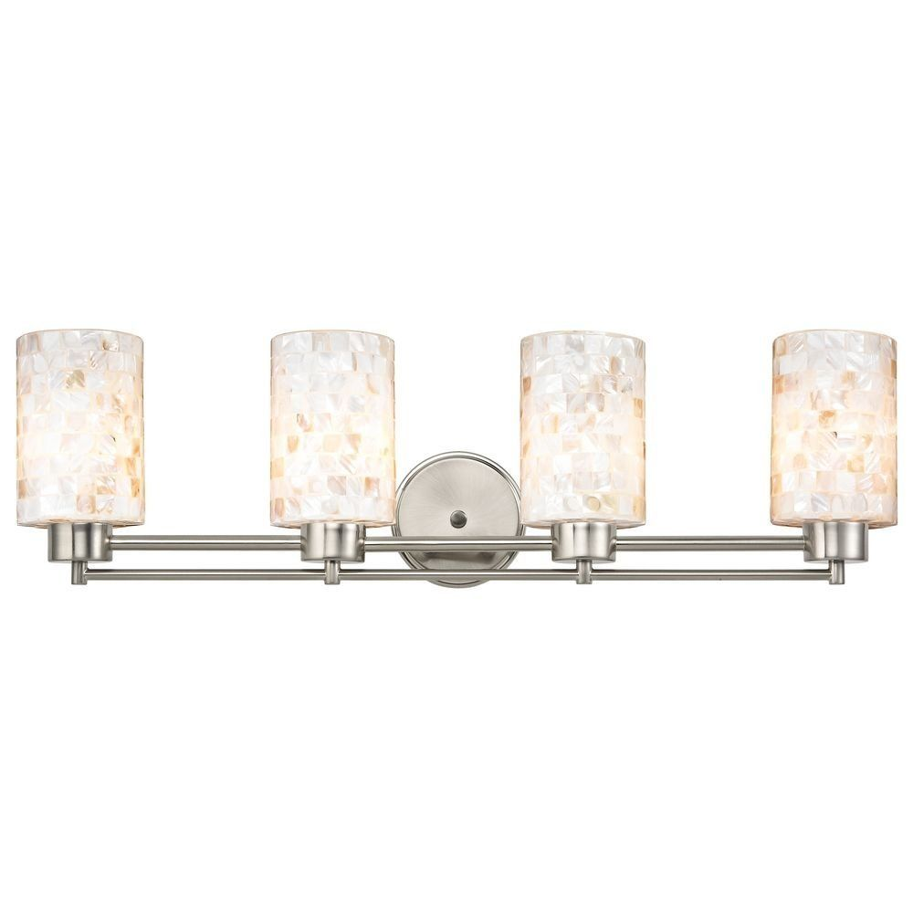 Bathroom Light with Mosaic Glass in Satin Nickel Finish ...